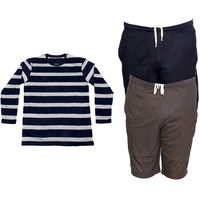 Indistar Mens 1 Cotton Full Sleeves T-Shirt and 2 Shorts/Barmuda Combo Offer (Pack of 3)