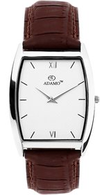 Adamo Square Dial Brown Synthetic Strap Analog Watch for Men - AD71BR01