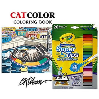 Crayola Super Tips Washable Markers Set Of 20 And Pomegranate Kliban Cat Color Coloring Book Original Art Work Shown In Full On The Inside Cover