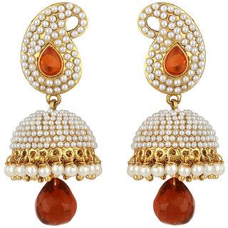 Jewels Guru Exclusive Golden White Orange Multi Colour Earrings.  m-322