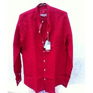 Men Linen Full Sleeve Chinese Collar Shirt
