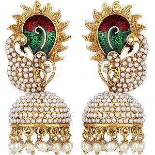 Jewels Guru Exclusive Golden White Green Maroon Multi Colour Earrings.  m-332