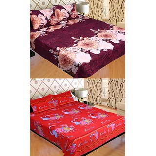 STOP N SHOP COMBO OF POLY COTTON FLORAL DOUBLE BED SHEET SET OF 2
