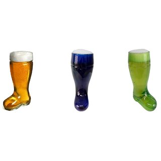 Barraid Glass Set (650 ml Clear Green Blue Pack of 3)