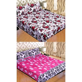 STOP N SHOP COMBO OF MULTICOLOR FLORAL POLY COTTON DOUBLE BED SHEET PACK OF 2