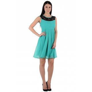 Westrobe Turquoise Plain A Line Dress For Women
