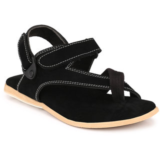 Afrojack Men Black Velcro Sandals