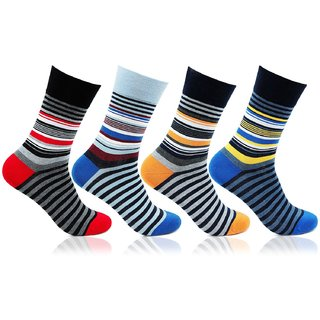 Mens Striped Design 4 Pair Pack Cotton Socks