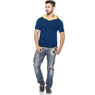 Demokrazy Men's Yellow & Navy Hooded T-Shirt