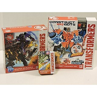 Transformers Age of Extinction Construct-Bots Dinobot Warriors Autobot  Drift & Roughneck Dino Action Figure, 150 Piece 3D Jigsaw Puzzle, & 50  Piece