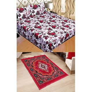 Stop N Shop White Floral Poly Cotton Bedsheet With Quilted Carpet
