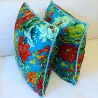 Royal Designer Velvet Cushion Cover (set Of 2) - Turquoise Blue