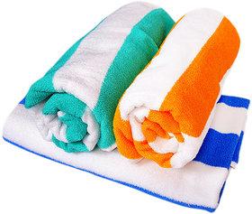 xy decor set of 3 cotton bath towels(blue,yellowgreen)