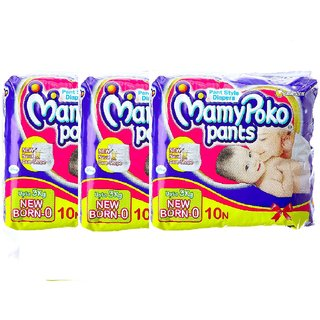 Mamy Poko Pants for New Born 10 Count (Pack of 3)