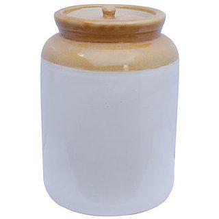 Madhav Terracotta Pickle Jar, 1 kg, White Brown