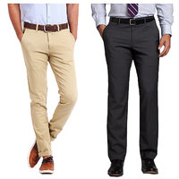 Gwalior Smart Combo of Chinos  Formal Trouser - Beige, Grey(Pack Of 2)