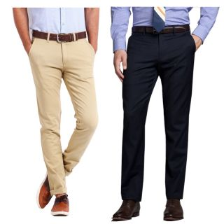 Gwalior Smart Combo Of Chinos & Formal Trouser - Beige, Blue(Pack Of 2)