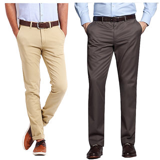 75ee87465b6 Gwalior Smart Combo of Chinos   Formal Trouser - Beige