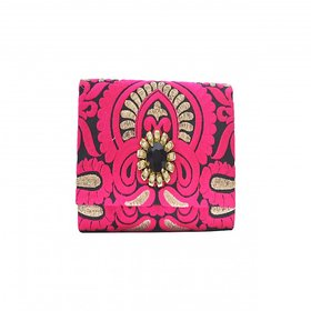 Pracce Ethinic Partywear Clutch In Pink And Black
