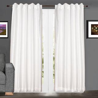Pair Of White Faux Silk Dupioni Curtains, Hidden Tab 102