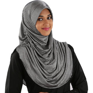 Indah108 Polyester Stretchable Silver Hijab
