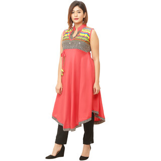 Nu Abc Garments Pink Rayon A-line Kurti