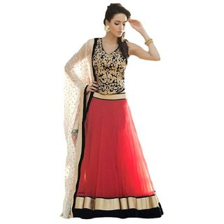 Royal Fashion Red Net Semi Stitched Embroidered Lehenga
