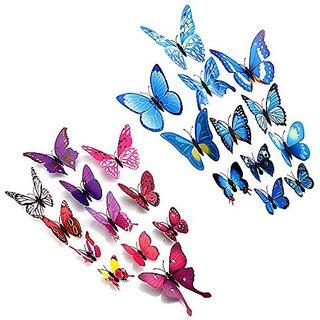 24pcs Purpleu0026blue 3d Butterfly Stickers, Wall Stickers Crafts Butterflies,  Wall Decoration, Fridge Magnet Part 65