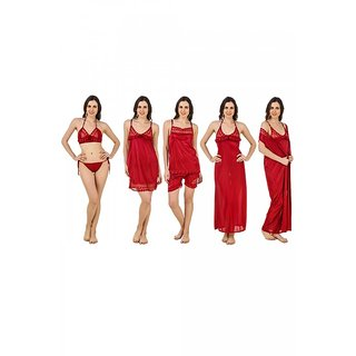 Keoti Maroon 7 pcs. Honeymoon Satin Nighty Set - (DN-7PCSNS-13)