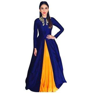 Aditi Rao Blue Banglory Anarkali Semi-Stitched Suit