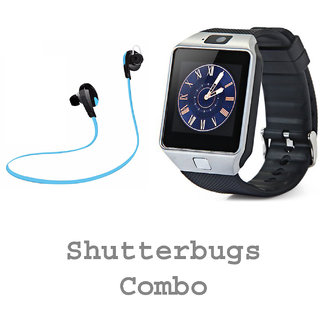 Shutterbugs Combo of Bluetooth Earphone and Smartwatch With SIM