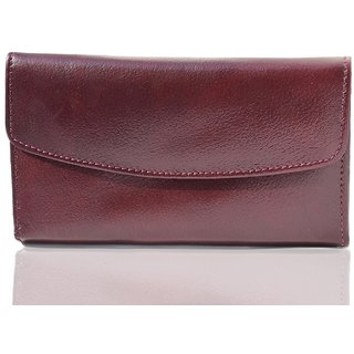Guniune Leather Maroon Clutch for Women  girl's