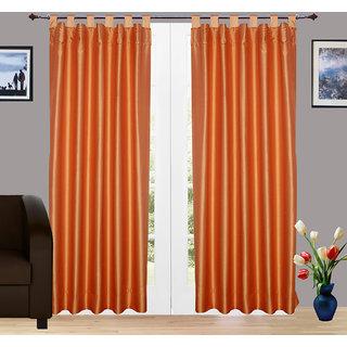 Pair of Orange Faux Silk Dupioni Curtains, Tab Top 102