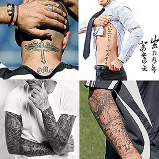 Buy Kotbs 4 Sheets Mix Similar Beckham Neck Arm Body Tattoo Sticker ...