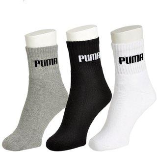 Puma Black Cotton White Black Grey Sports Socks - 3 Pair Pack