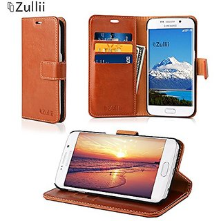 finest selection 5a14d f88b8 Samsung Galaxy S6 Edge Plus Wallet Case (Brown) - Best Folio Flip Cover  Leather case with Cash and Credit Card Holders - Foldable Kickstand Stand  ...