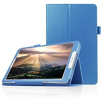 FanTEK Samsung Galaxy Tab E 8.0 SM-T377 (Sprint/US Cellular/Verizon ) 4G LTE 8-Inch Tablet Case - PU Leather Multi-Angle Stand Magnetic Smart Cover (Light Blue)