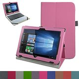 "Acer One 10 S1002 Case,Mama Mouth PU Leather Folio Stand Cover for 10.1"" Acer One 10 S1002 Detachable 2-in-1 Laptop/Tablet,Pink"