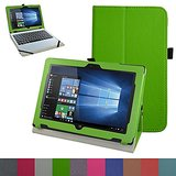 "Acer One 10 S1002 Case,Mama Mouth PU Leather Folio Stand Cover for 10.1"" Acer One 10 S1002 Detachable 2-in-1 Laptop/Tablet,Green"