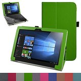 """Lenovo MIIX 310 Case,Mama Mouth PU Leather Folio Stand Cover for 10.1"""" Lenovo MIIX 310 Windows 10 Detachable 2-in-1 Laptop/Tablet,Green"""