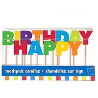 Party Time Molded Wide Letter Birthday Toothpick Candle