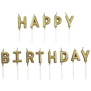 UTOP Birthday Candles Paraffin Happy Letter Candle GOLD