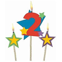 Party Time Stars And Number 2 Celebration Candle On A S