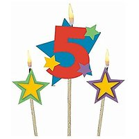 Party Time Stars And Number 5 Celebration Candle On A S