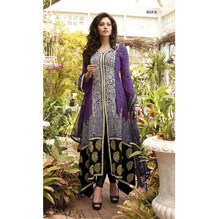 IndiweaveS Festival Special Party Wear Georgette Purpl Color A-Line Suit 2532-IW
