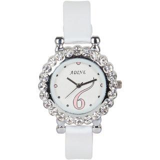 white dail analog watch