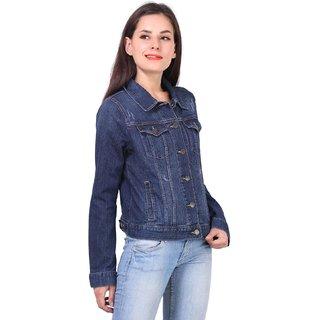 Kotty Light distress Denim jacket in dark blue