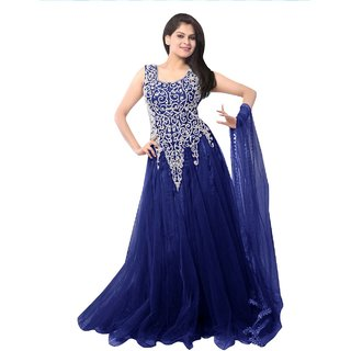 c14b283cd45f Buy Royal Fashion Blue Net Party Wear Gown Dress Online   ₹599 from ...