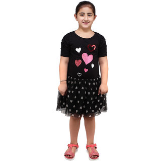 Lazy Shark Girls Heart Printed Frock