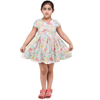 Lazy Shark Girls Floral Printed Frock
